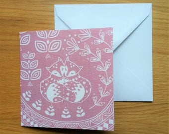 Daniel and Rosie Fox greetings card in dusky pink