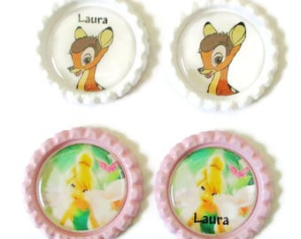 Personalized Disney Inspired Bottle Cap Key Ring - Magnets - Lapel Pin or Necklace/Set of 4 Magnets/Lapel Pin/Key Ring/Your Choice