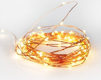 Copper Wire Fairy Lights,Wedding Lights,Decor Lights,Backdrop Lights,Home decor, 5 & 10 meters,Warm White Bulbs,White Bulbs,Battery Operated
