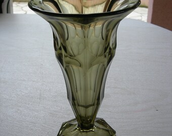 Old VASE-shaped smoked glass Tulip ART DECO