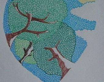 Love Trees! Fine Liner Pen Illustration on A5 135gsm paper.