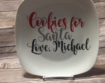 Cookies For Santa Glass Plate