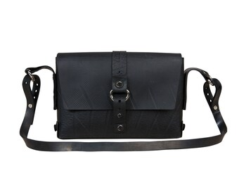 Black Vegan Leather small handbag with adjustable strap, eco friendly non leather crossbody bag 2 in 1, everyday crossbody handbag