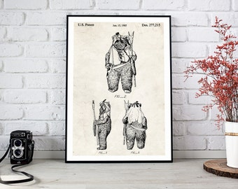 Printable Art, Ewok print, Star wars patent poster, DIGITAL PRINTABLE poster, wall decor, Instant DOWNLOAD, Home Decor, wall art, Office Art