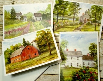 """Set of 4 Blank Note Cards, Country Landscape, Watercolor Prints, Notecards, 4 Different Rural Scenes, 4"""" x 5.5"""", Blank Greeting Cards"""