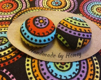 Color Wheel/Fabric Button Covered Earrings/Nickel Free
