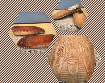 Rare Vintage Egyptian Slip-on King Tut Tool Stamped Leather Handmade Shoes Size possible 9 1/2