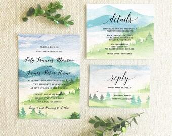 Mountain Wedding Invitation Suite Printable-Wedding Invitation, Detail Card, RSVP Card Printable-Wedding Invitation Suite Bundle Printable
