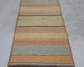 "2'5""x7'8'' Vintage Striped Rug, Anatolian Turkish Kilim, Colorful Kilim Rug"