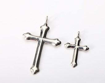Silver Cross Pendant | Religious Jewelry | Silver Cross Charm | Crucifix Pendant | Simple Cross Charm | Mens Silver Cross | Sterling Silver