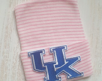 Newborn girl hospital hat- University of Kentucky, Kentucky baby girl hospital hat, pink hospital hat, newborn hat, Kentucky Wildcats baby