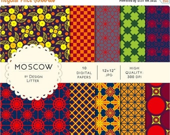 80% Until New Year - Moscow digital papers · colorful carnival and circus backgrounds city for scrapbooking with colored flowers and tiles ·