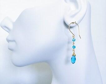 Teardrop Earrings, Wire Wrapped Earrings, Wedding Jewelry, Bridesmaids Earrings, Teardrop Wire Wrapped Earrings