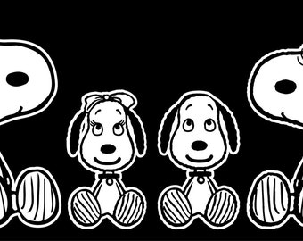 Snoopy Family Car Decal, Snoopy, Snoopy Car Decal, Snoopy Sticker, Snoopy Decal