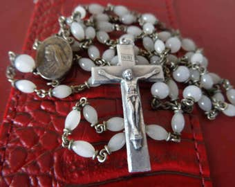 Vintage Antique Rosary Milk White Glass Beads with Silver Cross The Flying Priest Italy