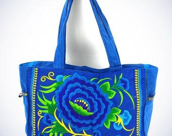 London Rose Bag Blue - Shoulder Bag - Travel Bag