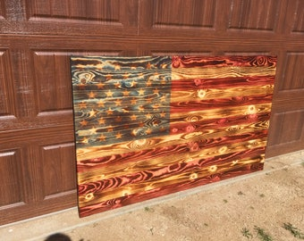 Wood American Flag Stained