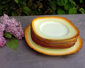 Antique dessert set in fine porcelain or hors d'oeuvres