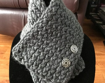 Hand knitted grey cowl scarf with silver buttons
