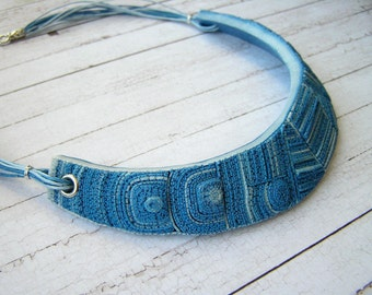 Bib necklace made of polymer clay Statement necklace Blue bib necklace Choker collar