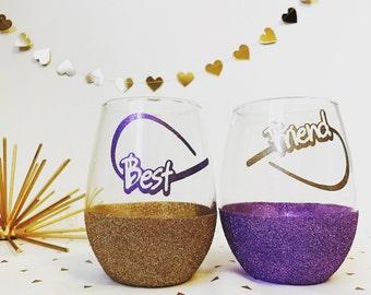 Best friend gift/ valentines days gift/best friends/ wine glasses for friends
