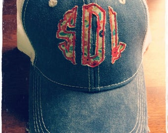 Distressed Monogrammed Truckers  Ballcap