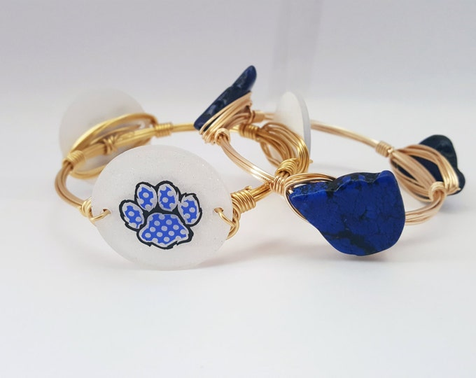 20% off University of Kentucky Wire Wrapped Bangle set, Bracelet, Silver or Gold wire, Bourbon and Boweties Inspired