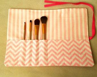 Pink and White Polka-Dot Makeup Brush Roll
