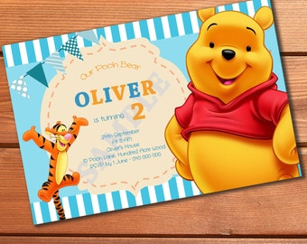 WINNIE THE POOH pooh bear tigger personalised custom invitations invites printable cards baby boys girls first birthday party supplies