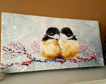 Bird painting, Chickadee art, Animal artwork, Bird lover gift, Winter painting, Wildlife decor, Animal painting, Country home decor