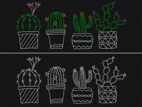 Cactuses - Machine embroidery design - 3 size for instant download