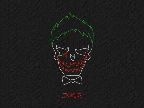 Joker - Suicide Squad - minimalist style - Machine embroidery design - instant download