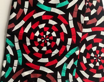 Red and Teal Ankara fabric, African Wax Cotton, African Wax Print, African Ankara, circular pattern multicoloured ankara sold by the yard