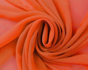 Hi Multi Chiffon Fabric - 10 Yards - Bright Orange (LF1)
