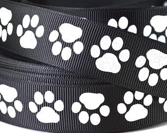 """7/8"""" Dog Paw Print Ribbon - White Glitter Paw Prints on Black Grosgrain Ribbon"""