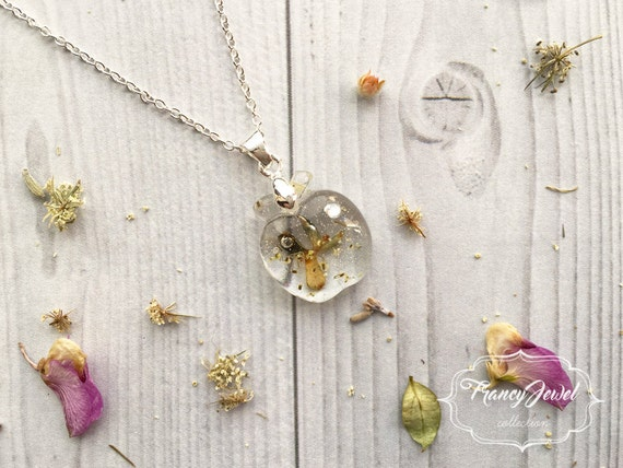 OOAK jewelry, silver necklace, apple charm, flower resin necklace, rhinestone pendant, real flower jewelry, made in Italy, Christmas gift