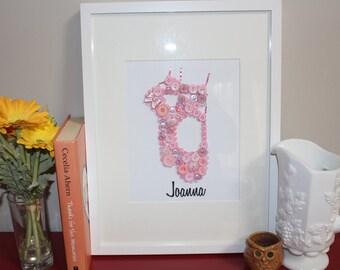 Ballerina Wall Art, Button Art, Girls Room, Ballerina Decor, Ballerina Slippers, Ballet Slippers, Pink Girls Room, Dancer Art Framed Slipper