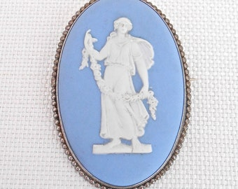 Vintage Wedgwood Cameo Brooch 'Dancing Hours' Blue and White Jasperware - Made in England 1962 - Classical Costume Jewellery -Vintage Brooch