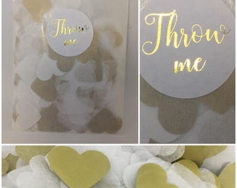 Wedding confetti - white and gold heart confetti in a 'throw me' translucent and metallic gold pack