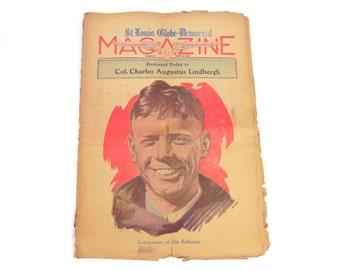 Charles Lindbergh Celebration Newspaper - June 19, 1927 - Vintage St. Louis Globe-Democrat - Full page color illustrations - in Fair cond