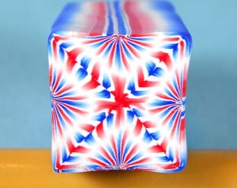 Red, White & Blue Polymer Clay Cane - Raw/ Unbaked (20-65) -Great for covering pens, bowls, eggs, jewelry and more!