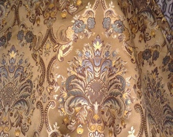 2 yards Brown and  blue teal damask multi purpose decorator fabric 54 wide