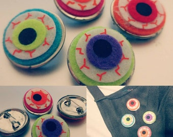 4 Neon Cloth Eyeball Pins
