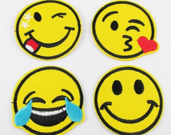 4pce Set Iron on / Sew On Embroidery Cloth Emoji Patches