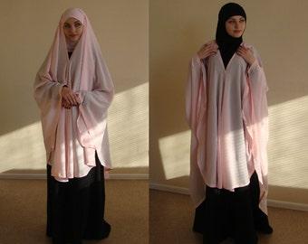 Transformer light pink Khimar, Modern Burqa, Pink Burka, Muslim Cape,ready to wear hijab, long hijab, Long muslim kimono, oversize Khimar