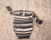 Baby Boy Upcycled Newborn RomperBodysuitPhotographers Propblue white green yellow striped long sleeved button neck