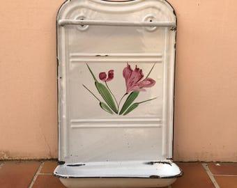 Vintage Enamelware, large white Enamel Utensil enameled flower 1503201728