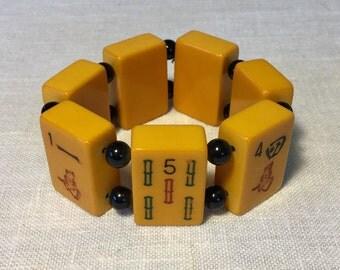 Vintage Bakelite Mahjong Tiles Bracelet, Ca: 1940s.
