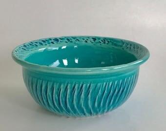 Small Handmade Green and Blue Ceramic Bowl