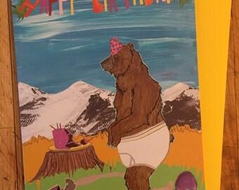 Underwear Bear Birthday Card